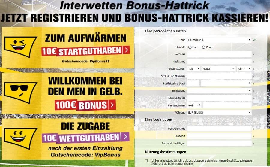 Screenshot Registrierung Interwetten