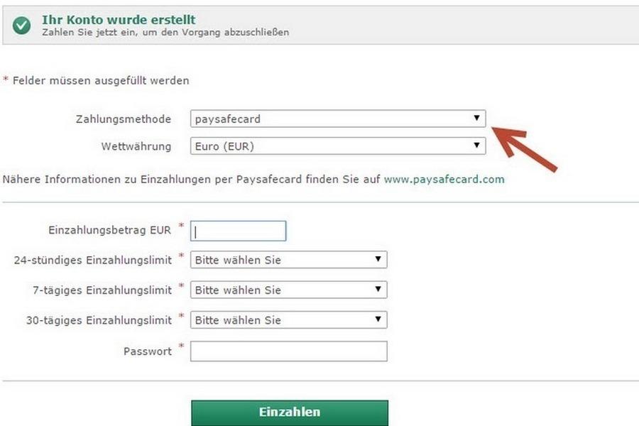 Screenshot bet365 Einzahlung