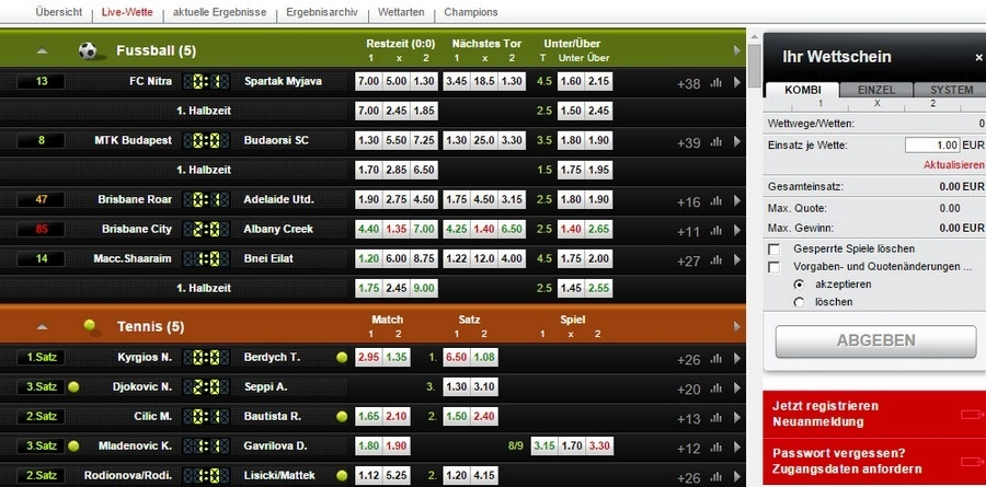 Screenshot Digibet Livewetten