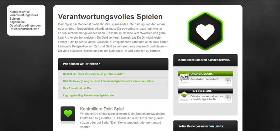 Screenshot Mobilebet Desktop Version Verantwortungsvolles Spielen