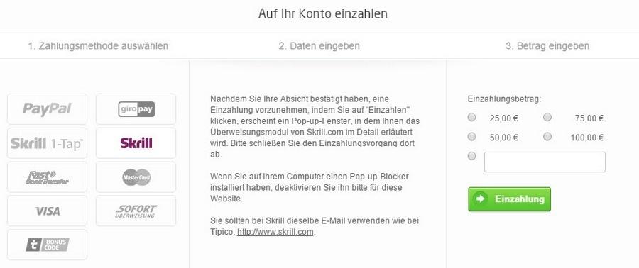 Screenshot von Skrill Einzahlung bei tipico