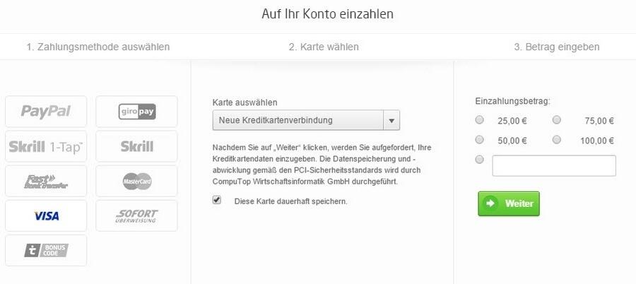 Screenshot Kreditkarte Einzahlung bei tipico