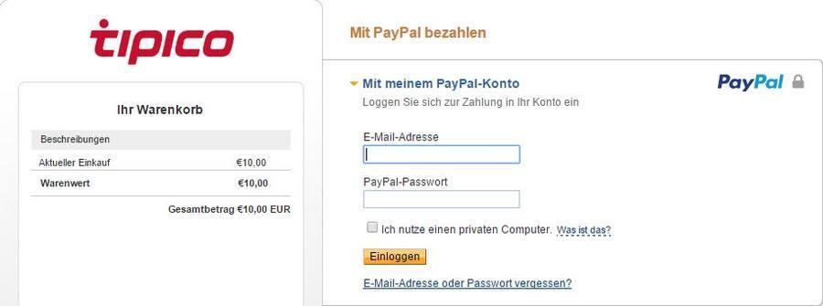 Screenshot tipico Registrierung mit Paypal