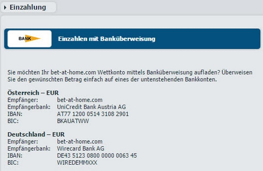 Screenshot Bankueberweisung bei bet-at-home