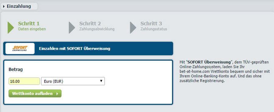 Screenshot von SofortUeberweisung bet bet-at-home