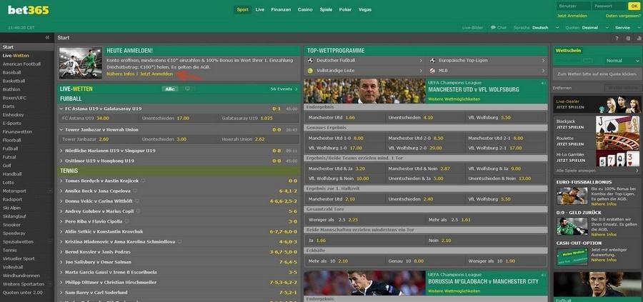 Screenshot bet365 Startseite