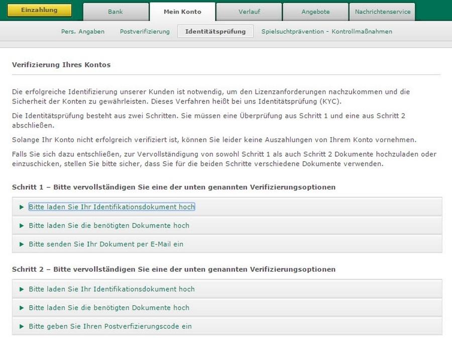 Screenshot Verifizierung bet365