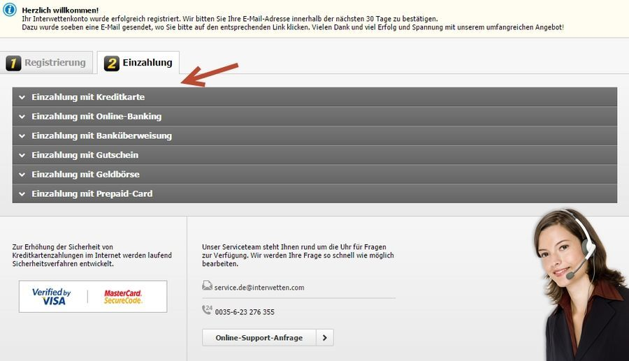 Screenshot Interwetten Einzahlung
