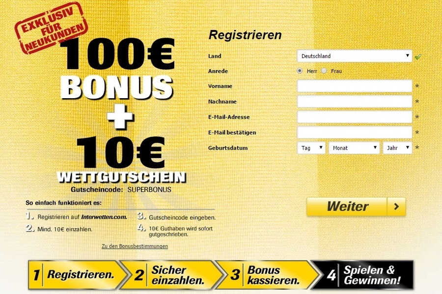Screenshot Registrierung Interwetten