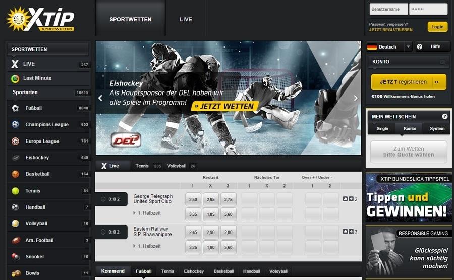 Screenshot X-TiP Sportwetten Startseite