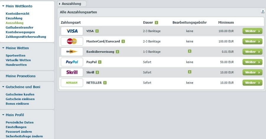Screenshot bet-at-home Auszahlung