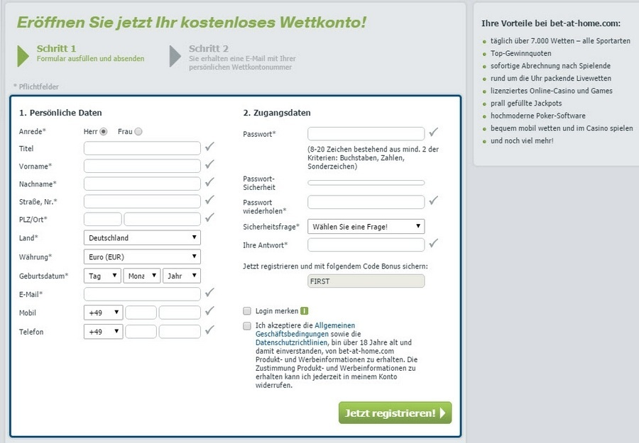 Screenshot bet-at-home Registrierung