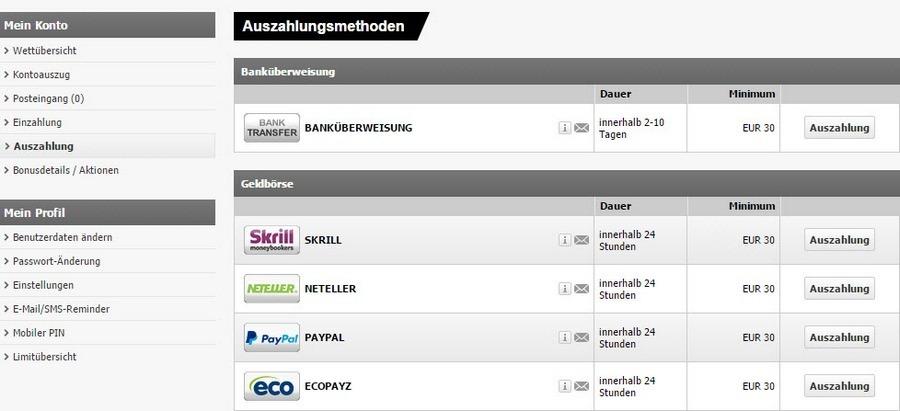 Screenshot Interwetten Auszahlung