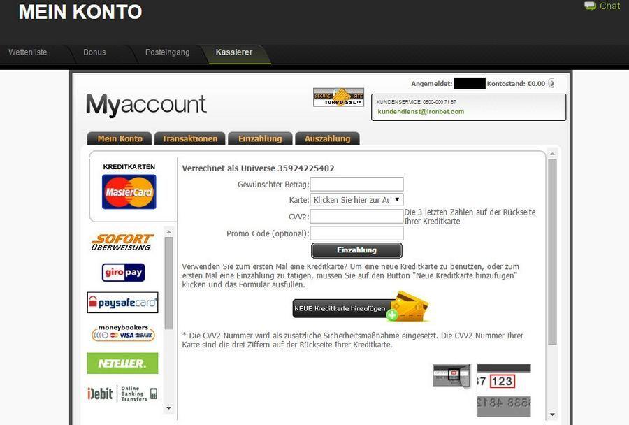 Screenshot ironbet Einzahlungen