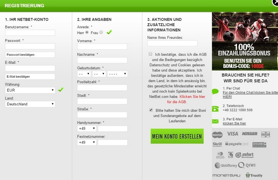 Screenshot NetBet Anmelde-Formular