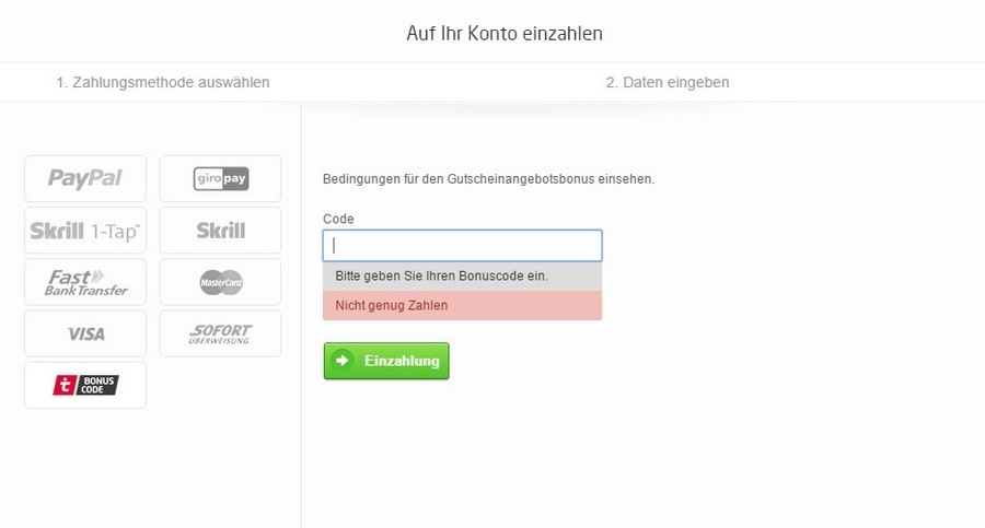 Screenshot tipico Promocode