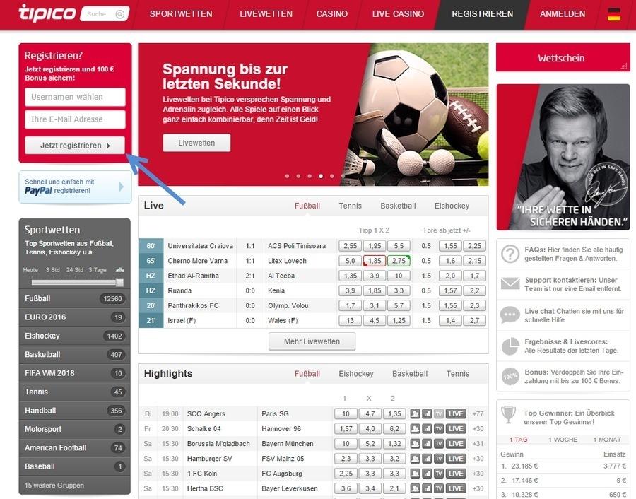 Screenshot tipico Startseite