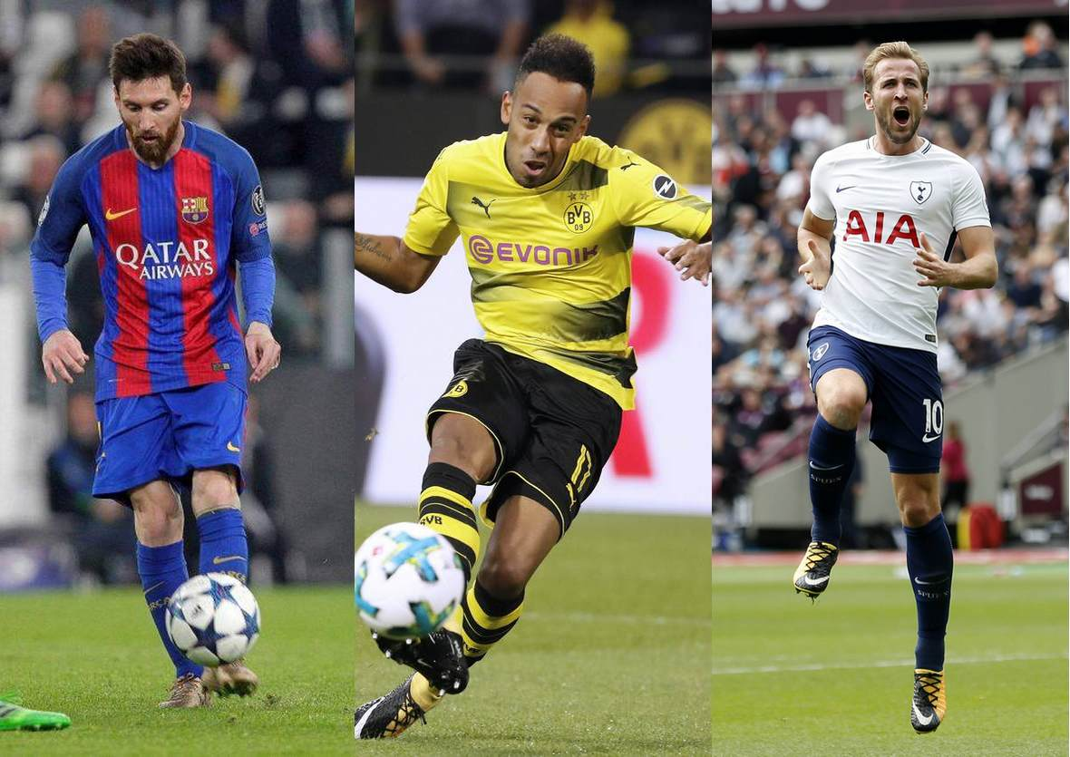 Lionel Messi, Pierre Emerick Aubameyang und Harry Kane in Aktion