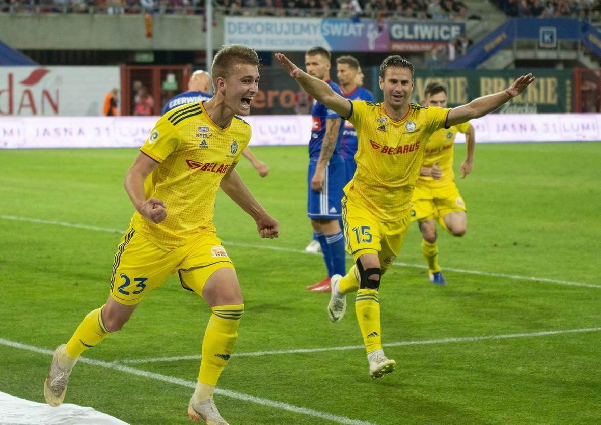 Zakhar Volkov und Maksim Skavysh jubeln. Jetzt auf BATE vs Rosenborg wetten