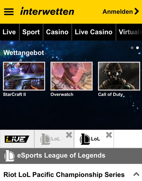 Screenshot esports Wetten bei Interwetten