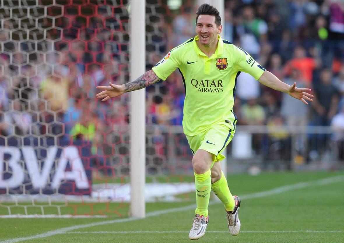 Lionel Messi beim Torjubel. Jetzt auf Barcelona gegen Levante wetten.
