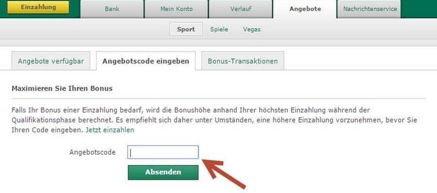Screenshot bet365 Angebotscode eingeben