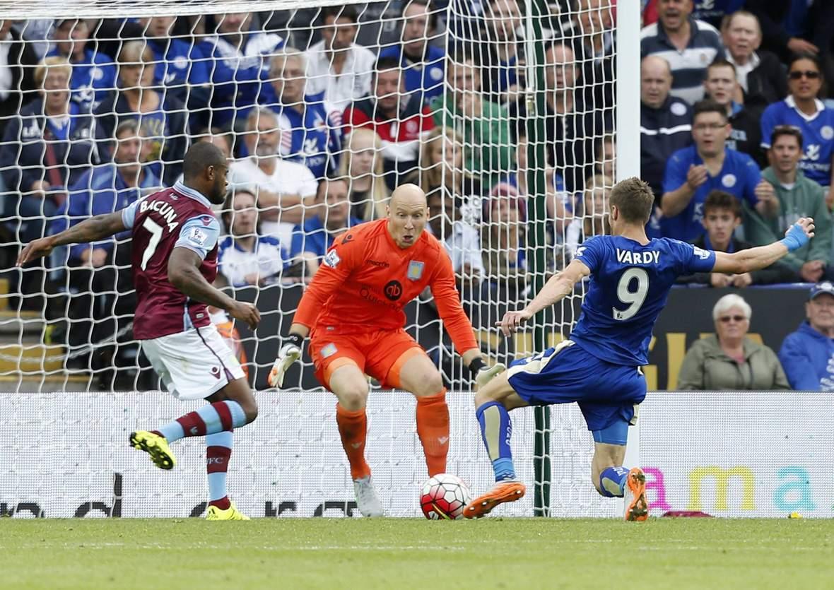Jamie Vardy kurz vor dem Torerfolg. Unser Tipp: Leicester gewinnt gegen Aston Villa. ©Imago